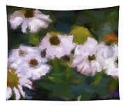 White Triangle Flowers Tapestry