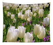 White Tulips In Bloom Tapestry