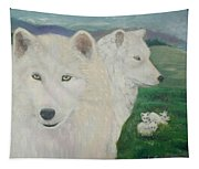 White Wolves Guarding Their Pups Tapestry