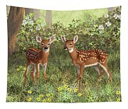 Whitetail Deer Twin Fawns Tapestry