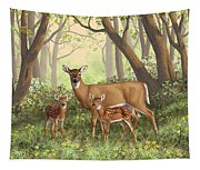 Whitetail Doe And Fawns - Mom's Little Spring Blossoms Tapestry