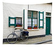 Whitewashed Brick House With Green Trimmed Shutters In Bruges Tapestry