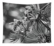 Wild Aster And Honey Bee Bw Tapestry