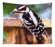 Wild Birds - Downy Woodpecker  Tapestry