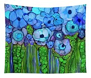 Wild Blue Poppies Tapestry