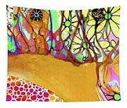 Wild Flowers Abstract Art - Sharon Cummings Tapestry
