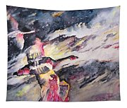 Wild Geese Flying In A Snow Storm Tapestry