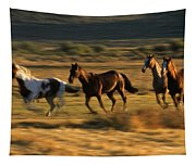 Wild Horses Running Together Tapestry