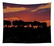 Wild Mustangs At Sunset Tapestry