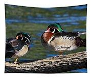 Wild Wood Ducks On A Log Tapestry
