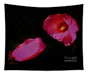 Wildly Pink On Black Flower Tapestry
