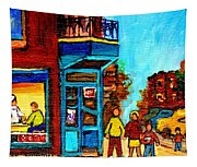 Wilensky's Lunch Counter With School Bus Montreal Street Scene Tapestry