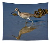 Willet Searching For Food In An Oyster Bed Tapestry