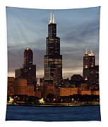 Willis Tower At Dusk Aka Sears Tower Tapestry