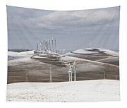 Windmils In Snow Tapestry