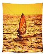 Windsurfer At Sunset Tapestry