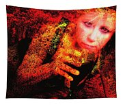 Wine Woman And Fall Colors Tapestry