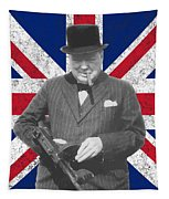 Winston Churchill And Flag Tapestry