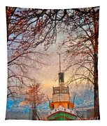 Winter And The Tug Boat Tapestry