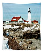 Winter At Portland Head Tapestry