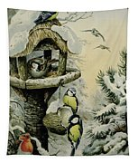 Winter Bird Table With Blue Tits Tapestry