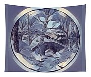 Winter Bridge In Blue Tapestry