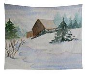 Winter Cabin Tapestry