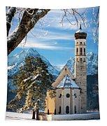 Winter Church In Bavaria Tapestry