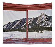 Winter Flatirons Boulder Colorado Red Barn Picture Window Frame  Tapestry