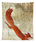 Winter Game Fox Tapestry
