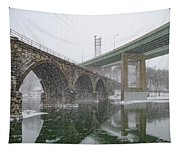 Winter In East Falls Along The Schuylkill River Tapestry