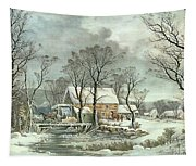 Winter In The Country - The Old Grist Mill Tapestry