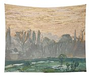 Winter Landscape With Evening Sky Tapestry