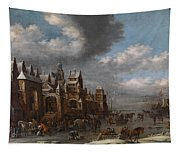 Winter Landscape With Horses Sleighs And Skaters In Front Of A Fortified Town, Tapestry