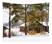 Winter Log Cabin 3 - Paint Tapestry