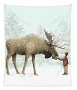 Winter Moose Tapestry by Eric Fan