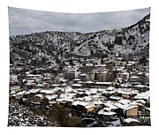 Winter Mountain Village Landscape With Snow Tapestry