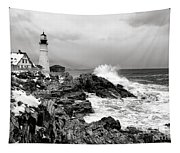 Winter Storm At Portland Head Tapestry