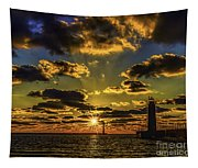Winter Sunset At Muskegon Channel Light Tapestry