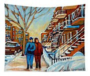 Winter Walk In Montreal Tapestry