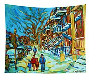 Winter  Walk In The City Tapestry