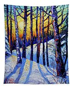 Winter Woodland Sunset Modern Impressionism Palette Knife Oil Painting Tapestry