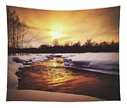 Wintry Sunset Reflections Tapestry