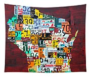 Wisconsin Counties Vintage Recycled License Plate Map Art On Red Barn Wood Tapestry