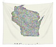Wisconsin Line Art Map Tapestry