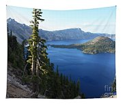 Wizard Island On Crater Lake Tapestry