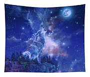 Wolf And Sky Blue 2 Tapestry