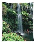 Woman Beneath Waterfall Tapestry