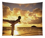 Woman Doing Yoga On Golden Beach Tapestry