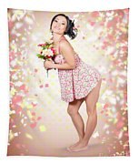 Woman Holding Flowers In Hands. Spring Celebration Tapestry